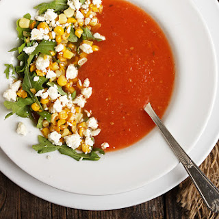 Fresh Tomato Soup with Skillet Corn and Feta