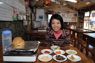 Photo: By now (2.40 pm), Cynthia looked happy and fully awake! It was time for more Korean food.
