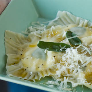 Ravioli with Goat Cheese and Sage Filling.