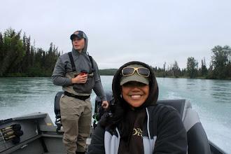 Photo: Nigel and Cindy Fox of Alaska Drift Away Fishing motoring up the Kenai river.