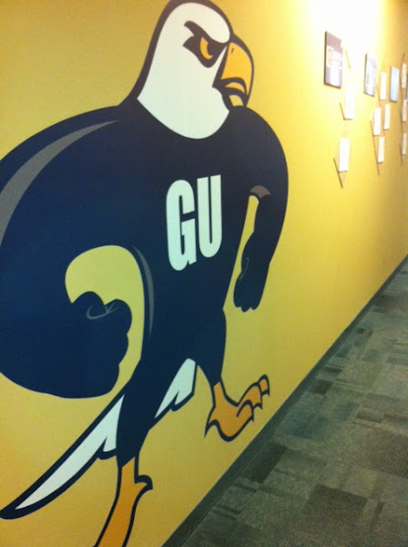 Photo: Think our mascot, Talon, looks fierce enough here? This logo is painted proudly inside our headquarters in Kansas City. Go Fighting Eagles!