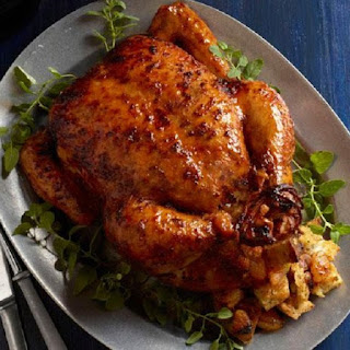 Roast Chicken Stuffed with Rice and Apricots
