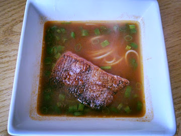 Noodles & Seared Salmon In Ginger-scallion Broth Recipe