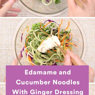 Edamame and Cucumber Noodles With Ginger Dressing