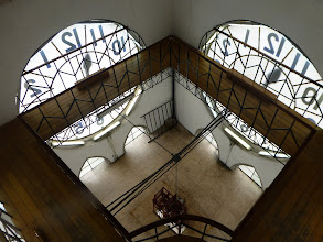 Photo: Looking down on the clock faces