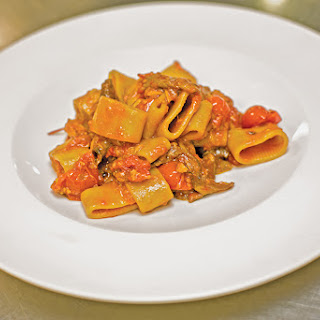 Calamarata alla Boscaiolo (Rigatoni with Tomato, Porcini, and Tuna)