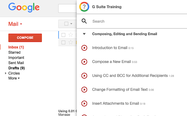 G Suite Training chrome extension