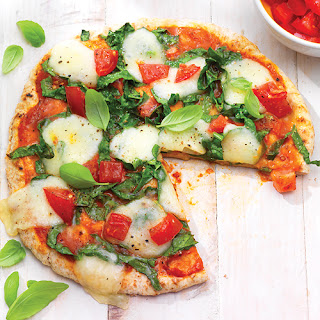 Personal Pizza with Garlic, Spinach & Mozzarella.