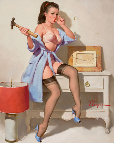 "Photo: Gil Elvgren The Wrong Nail, 1967 Oil on canvas 30"" x 24"" http://fineart.ha.com/c/item.zx?saleNo=5087&lotNo=78138"