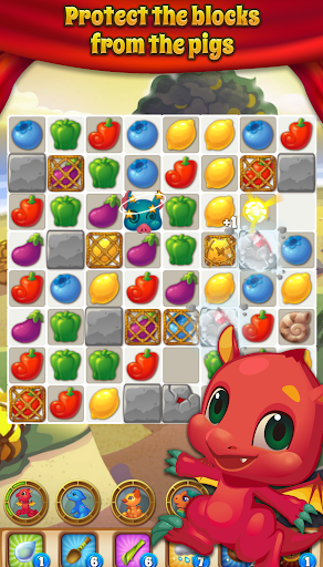 Pig & Dragon Saga  - Cute Free Match 3 Puzzle Game - screenshot