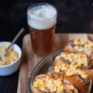 Mac and Beer Cheese Brats with Beer Caramelized Onions