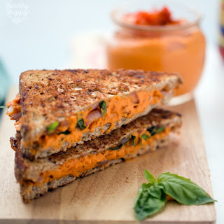 Red Pepper Hummus Caramelized Onion Basil Sandwich
