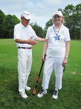 Photo: Bob congratulates Audrey as Second Place Winner