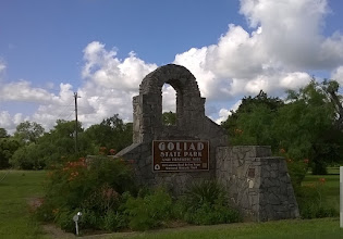 Photo: Goliad State Park sign with NPS emblem
