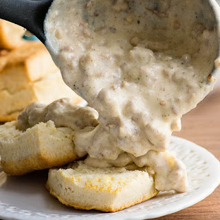 Six ingredient Biscuits and Sausage Gravy.