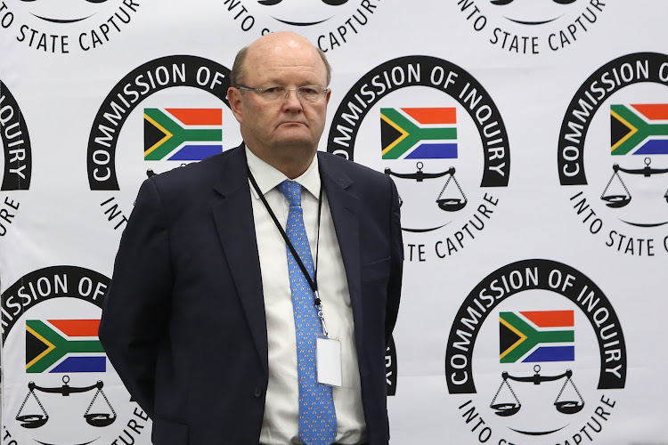Standard Bank head of compliance, Ian Sinton, who appeared at the state capture commission in Johannesburg on March 12 2019.