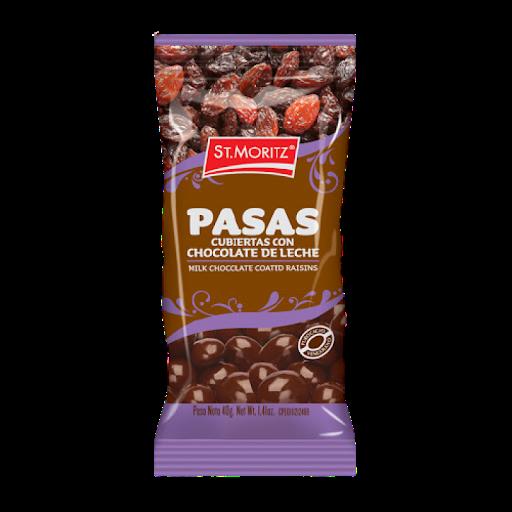 Chocolate St Moritz Pasas Cubiertas Chocolate de Leche