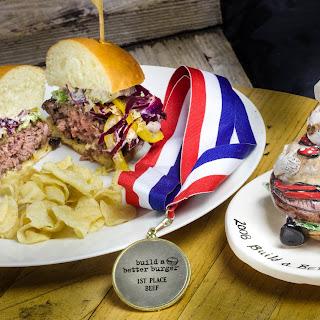 Bluesiana Burger with Zydeco Sauce, Root Beer Glaze and Mardi Gras Slaw