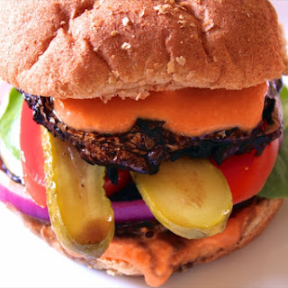 Portobello Mushroom Burger with Red Pepper Hummus Sauce