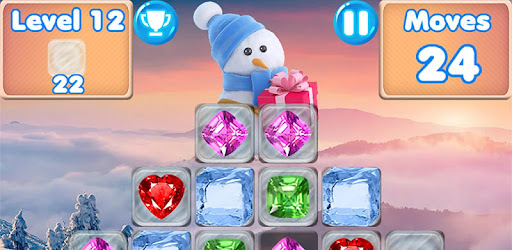 Help the frosty Snowman! Play this fun Christmas game with frozen gems & match 3