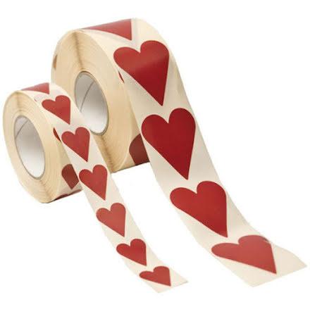 Presentetiketter Röda Hjärta 47 x 40 mm