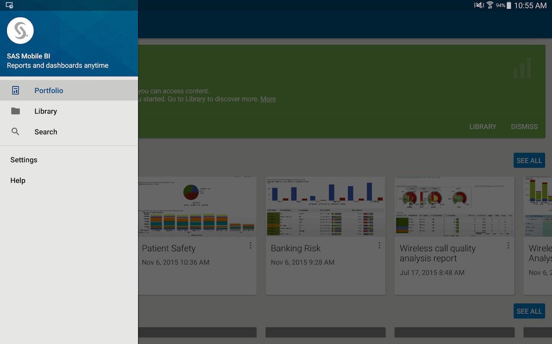 SAS Mobile BI- screenshot