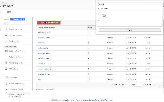 Google Analytics Dimension Updater
