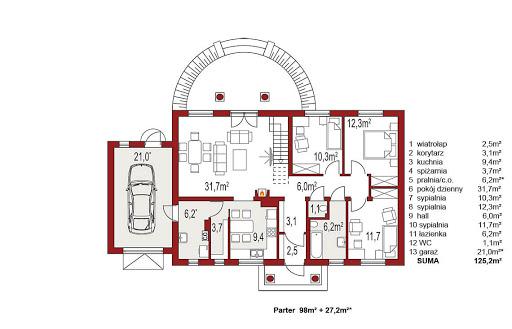 Madzia wersja B z pojedynczym garażem - Rzut parteru