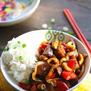 Spicy Eggplant Stir-Fry with Cashews