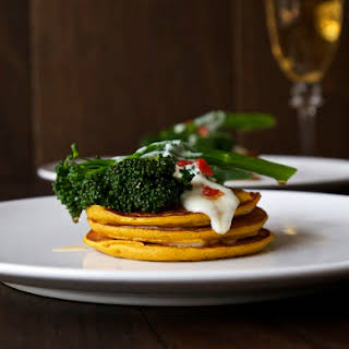 Pumpkin Pancakes with Chilli Fried Tenderstem® Broccoli and Creamy Goat's Cheese Sauce.