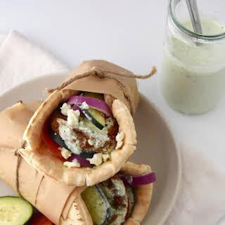Greek Veggie Pita Sandwich with Parsley Tzatziki.