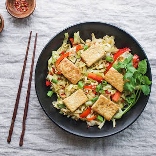 SPICY STIR-FRIED CABBAGE, TOFU & RED PEPPER.
