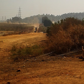 The dusty road by Sandeep Suman - Landscapes Mountains & Hills ( dust track, desert, trail, road, landscape, pwcpaths )