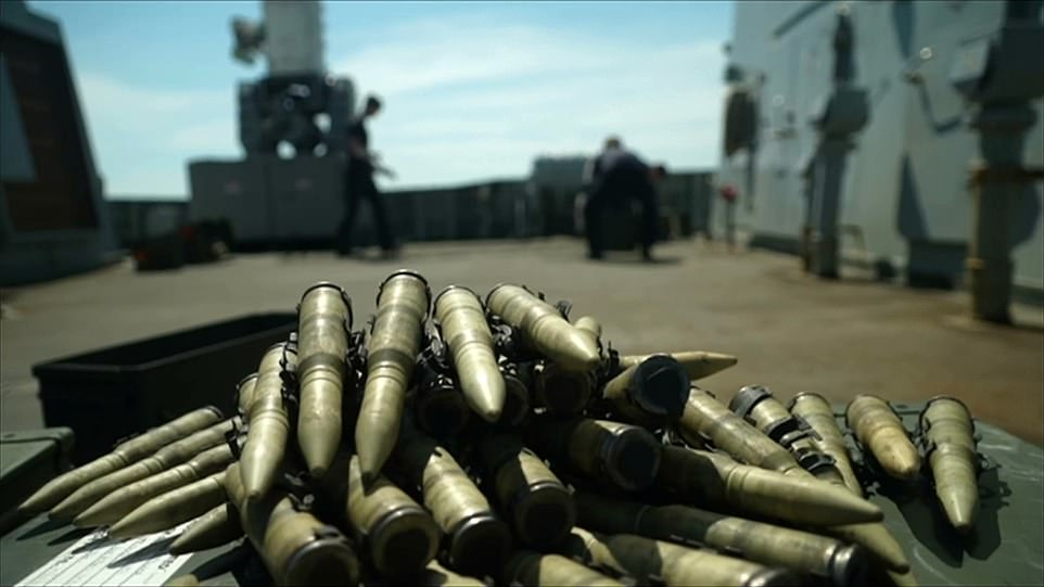Another image taken from BBC footage showed a strip of bullets on the deck of HMS Defender