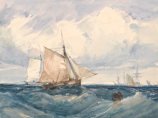 A Cutter and Other Shipping in a Breeze