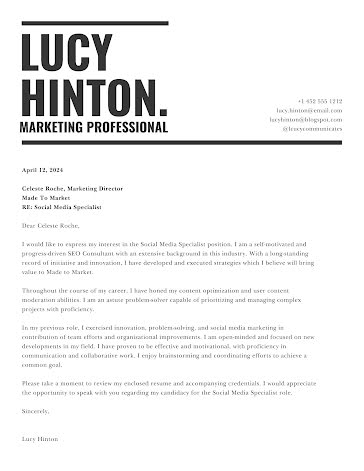 Lucy Hinton - Cover Letter Template