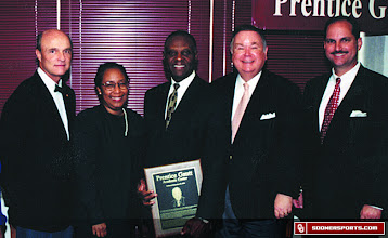 Photo: Prentice Gautt at the dedication ceremony for OU's student-athlete academic center in 1999.