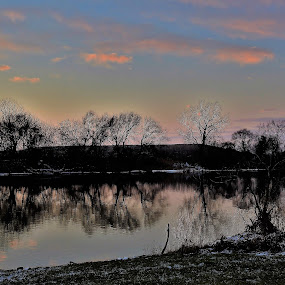 Treed Beauty by Kathy Woods Booth - Landscapes Waterscapes ( reflections, tranquility, riverscape, mirrored reflections, trees )