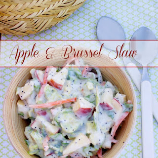 Sweet and Tangy Brussels Coleslaw with Fennel, Chopped Apples and Golden Raisins #SundaySupper.