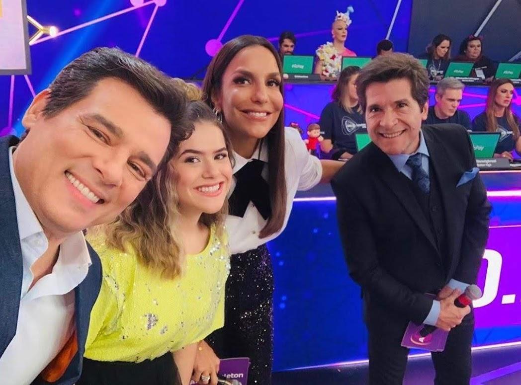 Celso Portiolli, Maisa, Ivete Sangalo e Daniel no Teleton