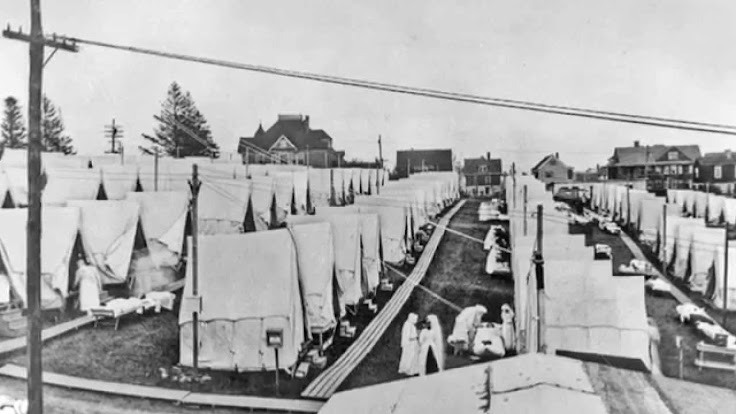 Medical tents set up in Seattle during the Spanish Flu outbreak.  Photo: Leonard Garfield.