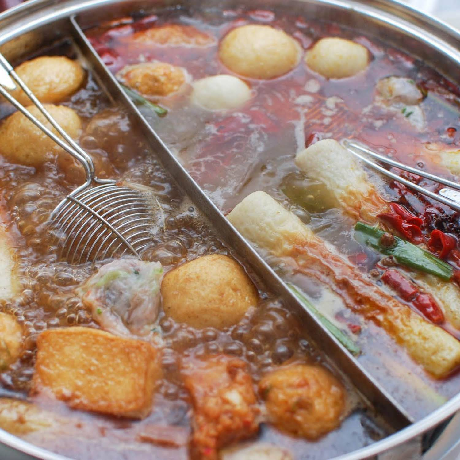 Chinese-Style Hot Pot  subsequent to  successful Broth, Shrimp Balls, and Dipping Sauces