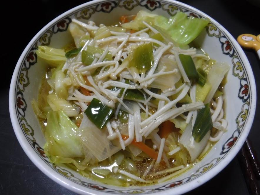 うちの細麺を使って野菜ラーメン風