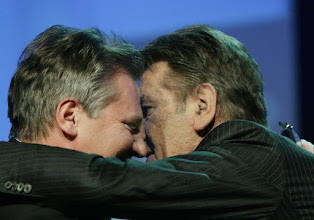 Photo: DAVOS/SWITZERLAND, 28JAN05 - Victor A. Yushchenko (R), President of Ukraine, kisses Aleksander Kwasniewski, President of Poland, after his speech during the session 'Special Message 6: Europe' at the Annual Meeting 2005 of the World Economic Forum in Davos, Switzerland, January 28, 2005. 