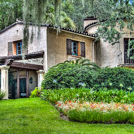 Pinewood Manor by Sandy Friedkin - Buildings & Architecture Homes ( manor, gardens, flower beds, house,  )