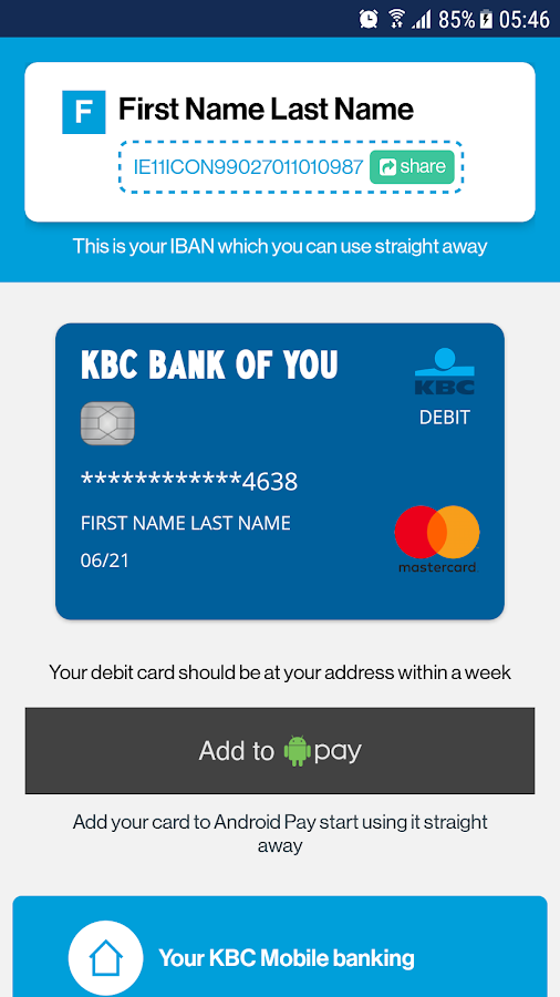 KBC Ireland Mobile Banking- screenshot