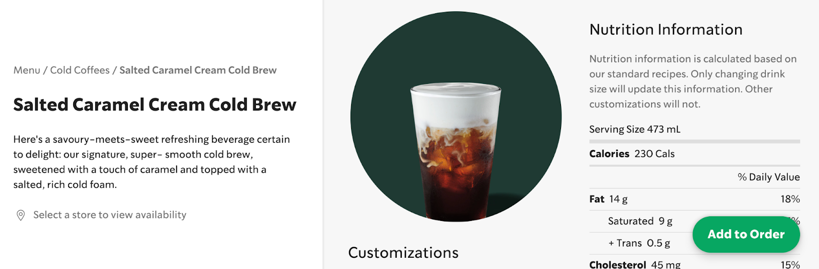 Salted Caramel Cream Cold Brew order page with nutrition facts.