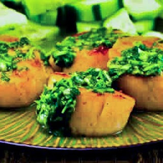 Grilled Sea Scallops with Paprika and Cilantro Salsa.