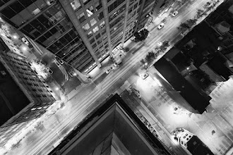 Photo: Same Old Scenario 1. Go to corner of tall building 2. Point camera downward with wide angle lens 3. Secure tripod 4. Rejoice at generic rooftopping intersection shot 5. Repeat process  ISO: 200 Shutter: 13 seconds Aperture: F/8 Camera: Canon 5d Mk II Lens: Canon 17-40mm F/4 L  #toronto  #rooftopping  #blackandwhite  #urbex  #urbanexploration #longexposure
