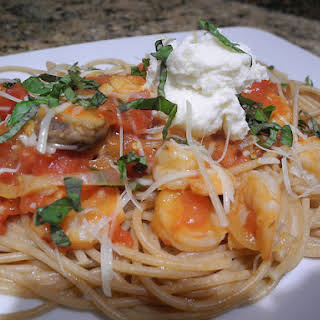 Whole Wheat Pasta With A Spicy Shrimp Tomato And Sweet Vermouth Sauce.